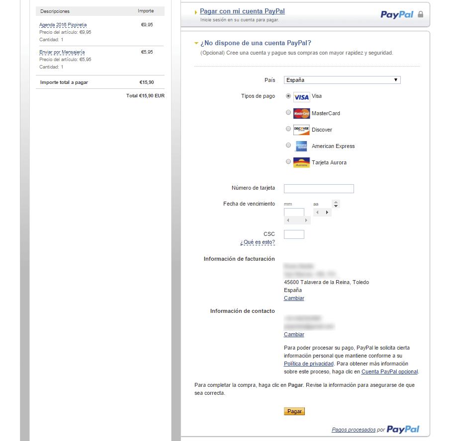 pagar con tarjeta en paypal